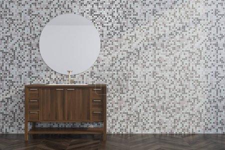 Gray tile living room, wooden dresser