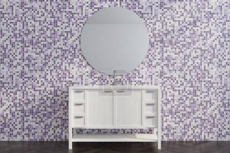 Purple tile living room, white dresser close up