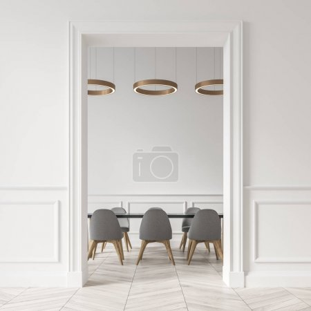 White dining room, gray chairs