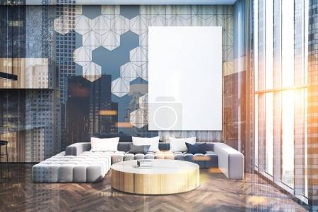 Photo for Hexagon pattern living room interior with a long gray sofa, a round coffee table, a bar and a poster. 3d rendering mock up toned image double exposure - Royalty Free Image