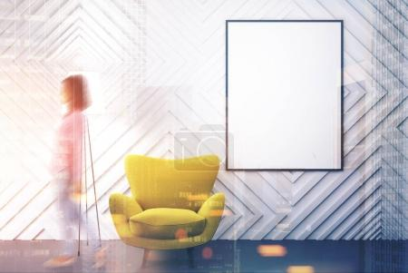 Empty white room, yellow armchair, poster toned