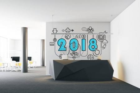 2018 and start up sketch above an office reception