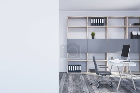 White manager s office interior, wall