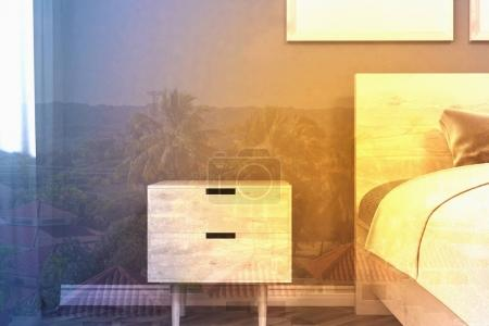Gray minimalistic bedroom, table toned