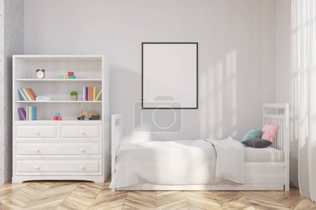 White nursery interior, poster