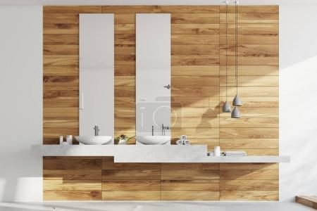Wooden bathroom, sinks and lamps