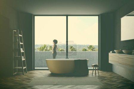 Gray bathroom interior toned