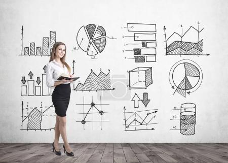 Cheerful woman business statistics
