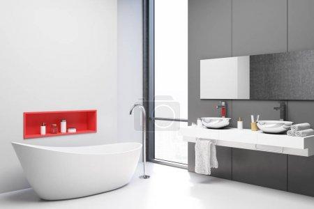 Photo pour Coin salle de bain blanc et gris avec un sol blanc, une baignoire blanche et un double lavabo blanc avec un grand miroir. Modélisation de rendu 3d - image libre de droit
