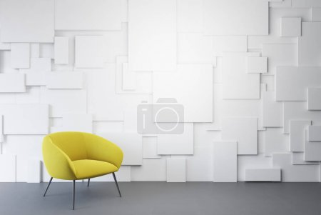 Photo for White empty room interior with a yellow armchair standing on a concrete floor. 3d rendering mock up - Royalty Free Image