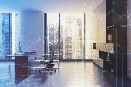 Photo pour Intérieur blanc du bureau du PDG avec une table en bois et blanc foncé, une fenêtre panoramique et une bibliothèque. Une vue latérale. Des graphiques. 3d rendu maquette image tonique double exposition - image libre de droit