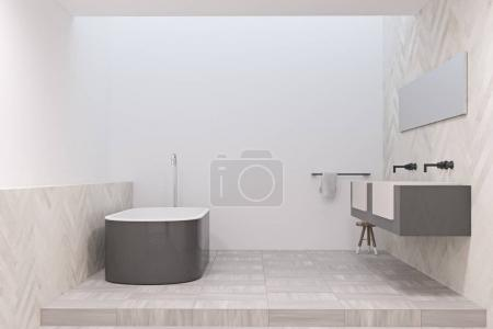 Modern bathroom with a gray tub