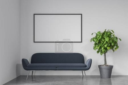 Empty white room, gray sofa, poster