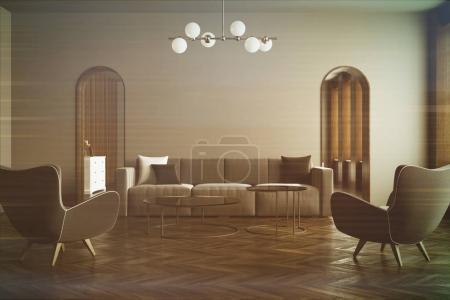 Gray living room, gray sofa, blur