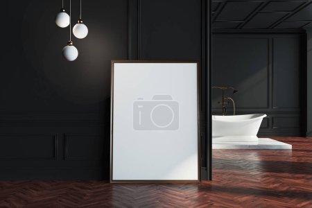 Black wall bathroom, poster near wall