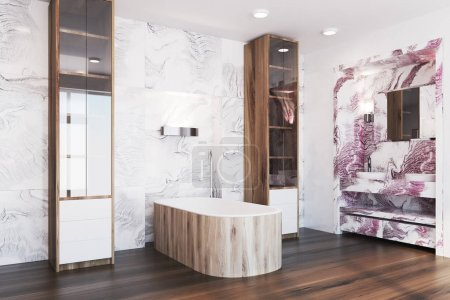 White and red marble bathroom interior side
