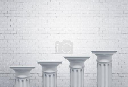 Greek columns, white brick wall