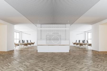 White pattern wall office, reception desk
