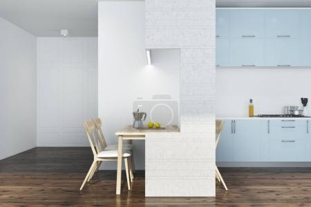 White kitchen, blue and white furniture