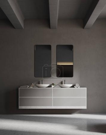 Gray sink vanity unit in a gray bathroom