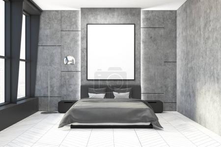 Foto de Elegante dormitorio interior con muros de hormigón, una cama gris con dos mesitas y un suelo de madera. Un cartel. Render 3D mock up - Imagen libre de derechos