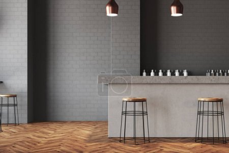 Photo for Gray wall bar interior with a wooden floor, a stone bar and wooden stools near it. Tables with chairs in the background. 3d rendering mock up - Royalty Free Image