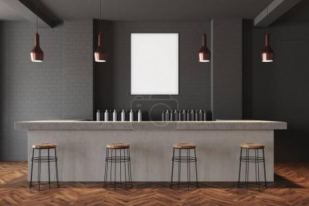 Gray wall bar interior, poster