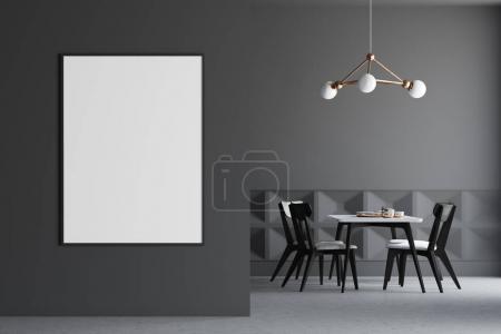 Dark gray dining room interior, poster on wall