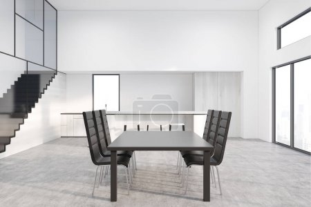 Gray dining table with design chairs