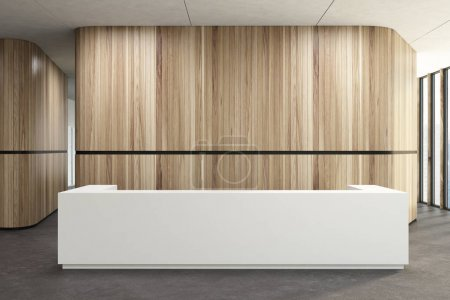 Photo pour Blanc de réception debout dans un couloir de bureau en bois avec un sol en béton. rendu 3D maquette - image libre de droit