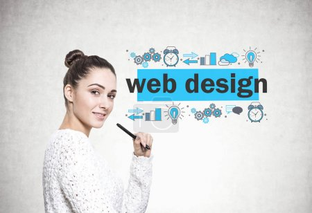 Beautiful young woman with a marker, web design