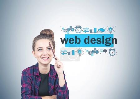 Smiling teen girl, web design