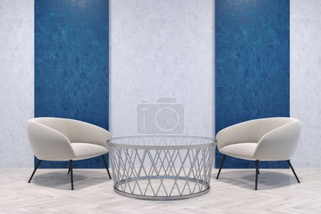 White armchairs in a blue and gray room