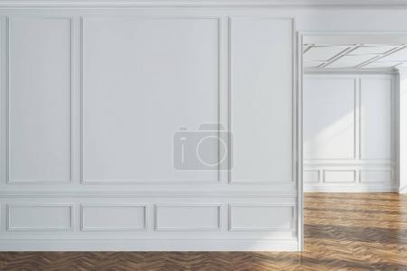 White empty room interior, wooden floor, wall