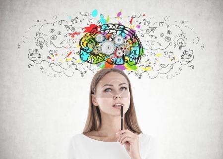 Attractive caucasian woman thinking, cog brain