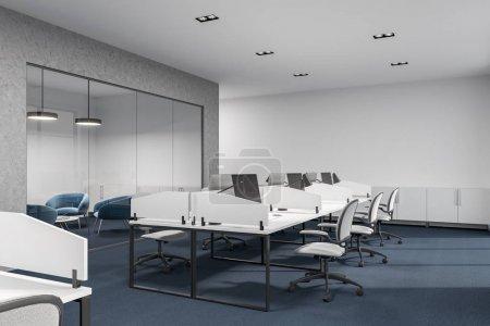 Concerete, glass and white loft office interior