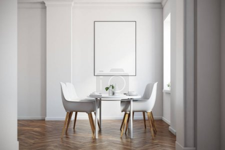 White dining room, wooden floor, poster
