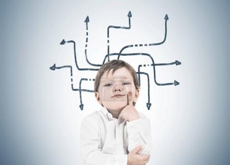 Thinking little boy, finger on cheek, arrows maze