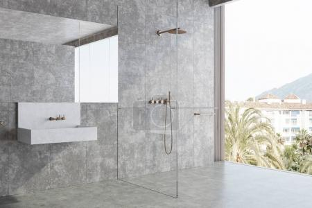 Photo for Concrete panoramic bathroom interior idea. Concrete walls and floor, large window and a white sink. A side view. 3d rendering mock up - Royalty Free Image