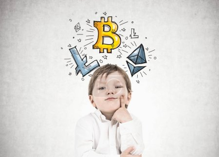 Thinking little boy, crypro currency