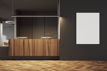 Dark and wooden office interior, reception, poster