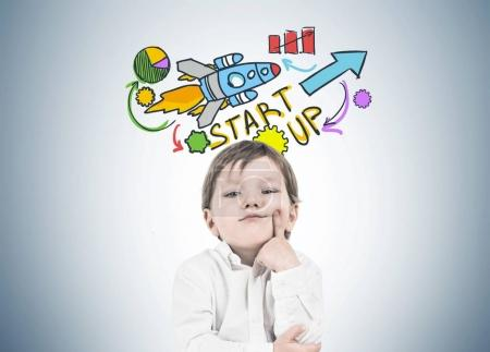 Thinking little boy, finger on cheek, start up