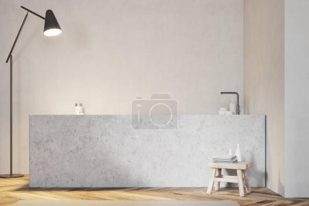 White bathroom, angular tub