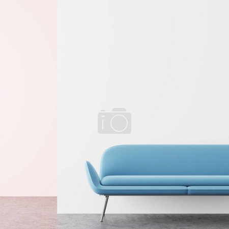 Photo for Minimalistic living room interior with white and pink walls, and a soft pastel blue sofa standing on a concrete floor. 3d rendering mock up - Royalty Free Image
