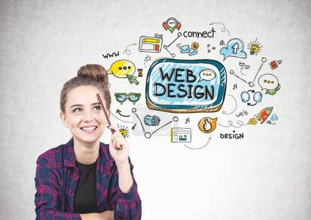 Smiling teen girl thinking, web design