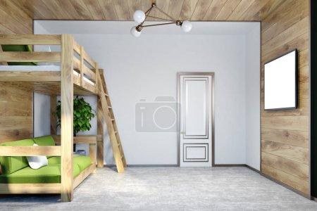 Photo pour Coin chambre moderne avec des murs blancs et en bois, un sol en béton, et un lit mezzanine avec un canapé vert en dessous. Une télé sur le mur. Modélisation de rendu 3d - image libre de droit