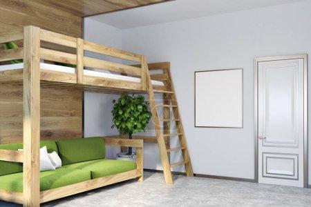 Photo pour Coin chambre moderne avec des murs vert foncé, blanc et en bois, un sol en béton, et un lit mezzanine avec un canapé vert en dessous. Une affiche. Modélisation de rendu 3d - image libre de droit