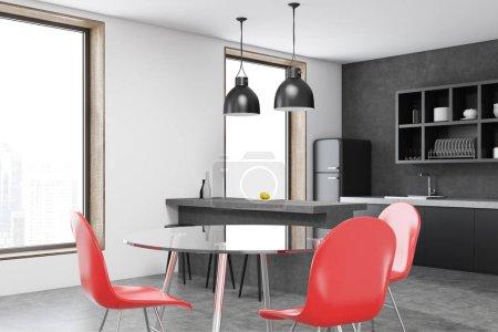 Interior de cocina silla rojo