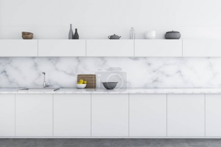 Photo for Luxury kitchen interior with white marble walls, a concrete floor, and white countertops. 3d rendering mock up - Royalty Free Image