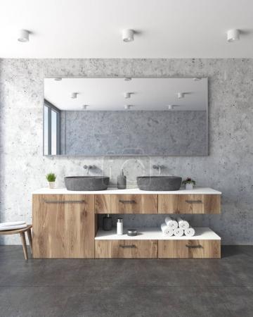 Concrete bathroom, double sink